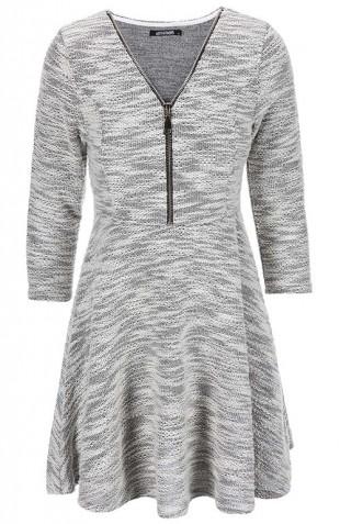 Teplé zimní šedé šaty na zip Haily´s Hazzy