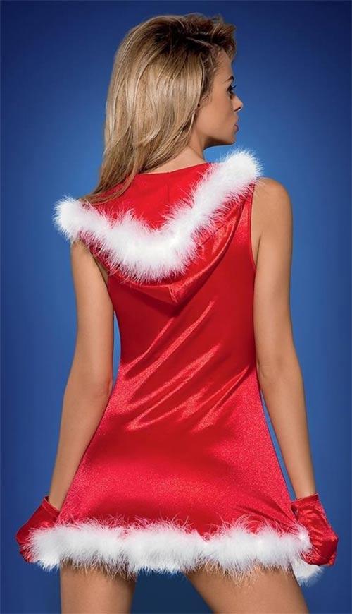 červená erotická vánoční košilka