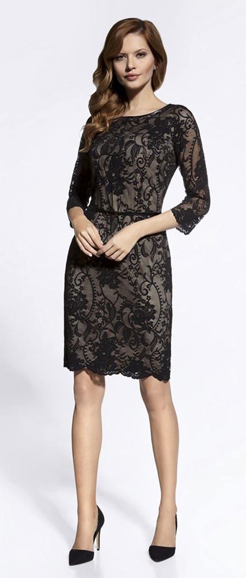 Pouzdrové celokrajkové šaty s tříčtvrtečním rukávem