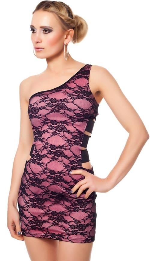 Růžové plesové šaty s černou krajkou