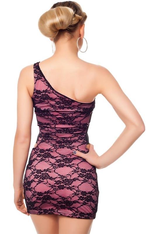 Šaty s krajkou na jedno rameno