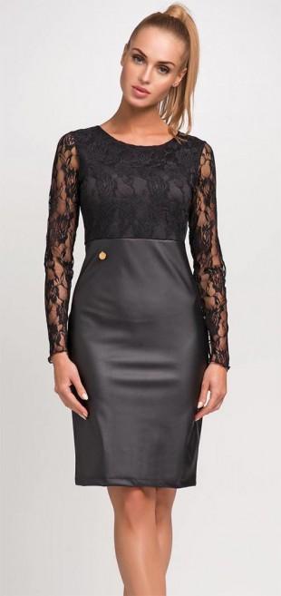 Černé a bílé kožené krajkové šaty