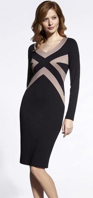 Dámské černo-béžové šaty s dlouhými rukávy Enny 200054