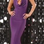 Dlouhé levné plesové fialové šaty