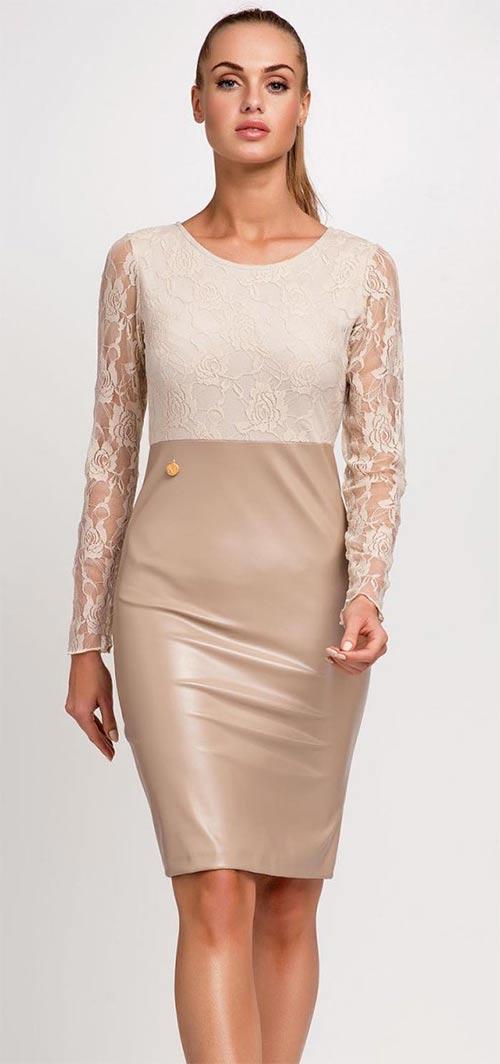 Krémovo-bílé krajkové dámské šaty