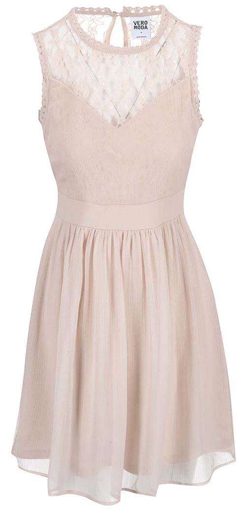 265b85c1091c Pudrově růžové šaty s krajkovým detailem Vero Moda Aya
