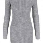 Světle šedé úpletové zimní šaty s rolákem