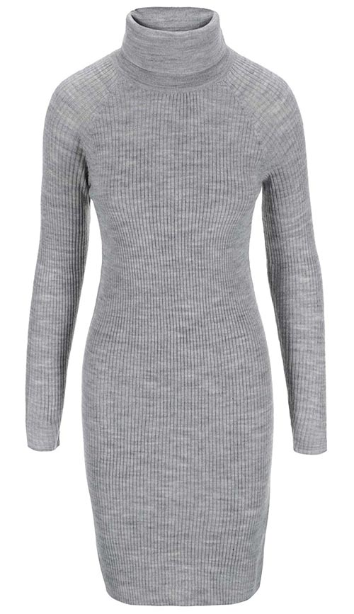 37cf3defd1b8 Světle šedé úpletové zimní šaty s rolákem