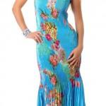 Tyrkysově modré dlouhé společenské šaty