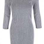 Úpletové světle šedé šaty s 3/4 rukávem