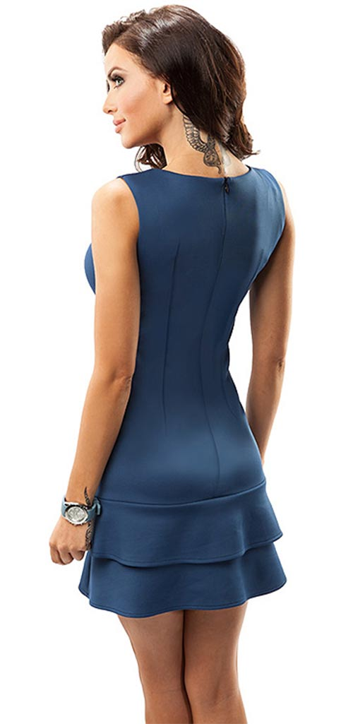 Krátké modré splečenské šaty