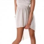 Krémové letní krátké šaty nad prsa s nařasením