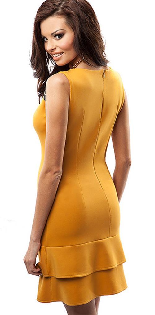 Žluté šaty s volánovou sukní