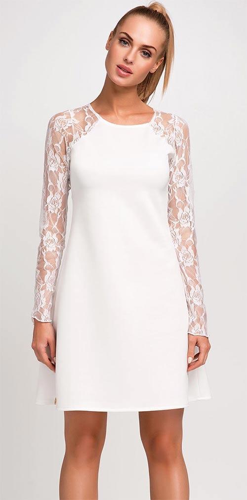 Bílé dámské společenské šaty