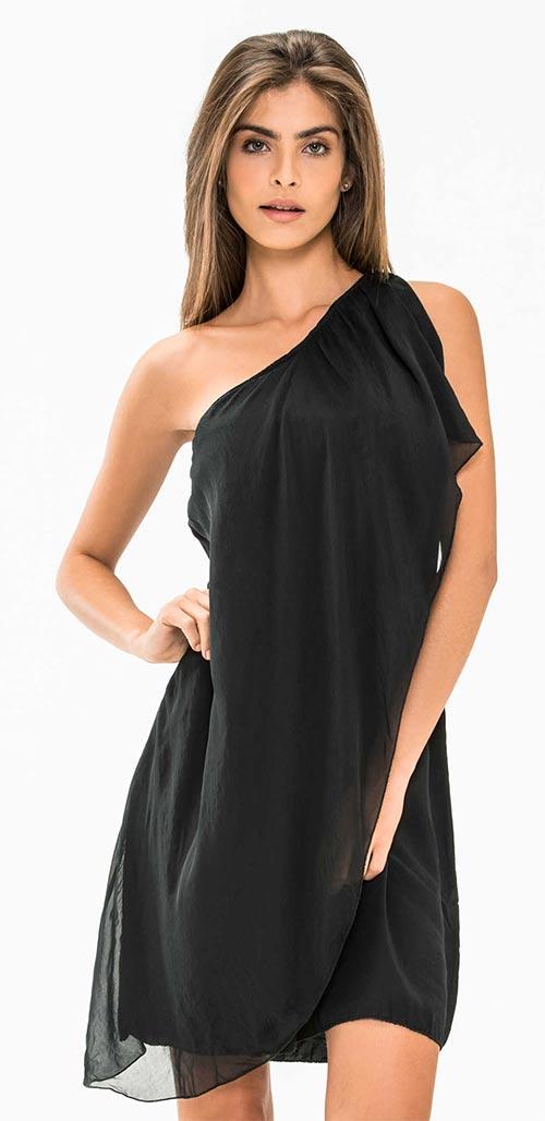 Černé dámské asymetrické minišaty na jedno rameno