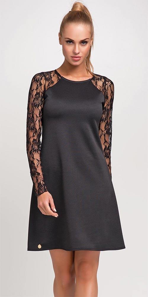 Černé šaty s dlouhými rukávy z krajky