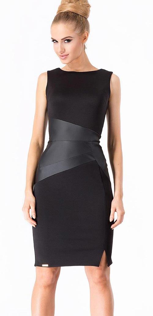 Černé šaty s vsadkou z eko-kůže