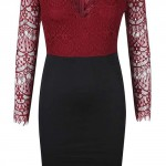 Černo-vínové šaty s krajkovým topem AX Paris