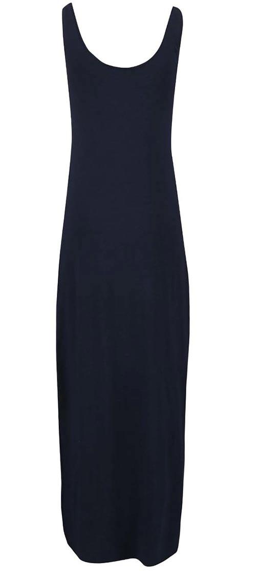 Jednoduché dlouhé šaty s kulatým výstřihem