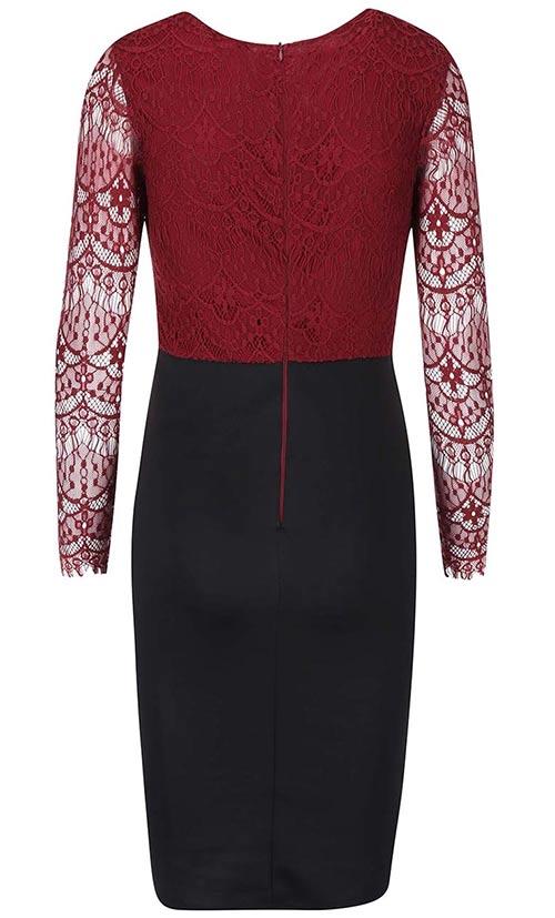 Krajkové šaty červený top, černá sukně
