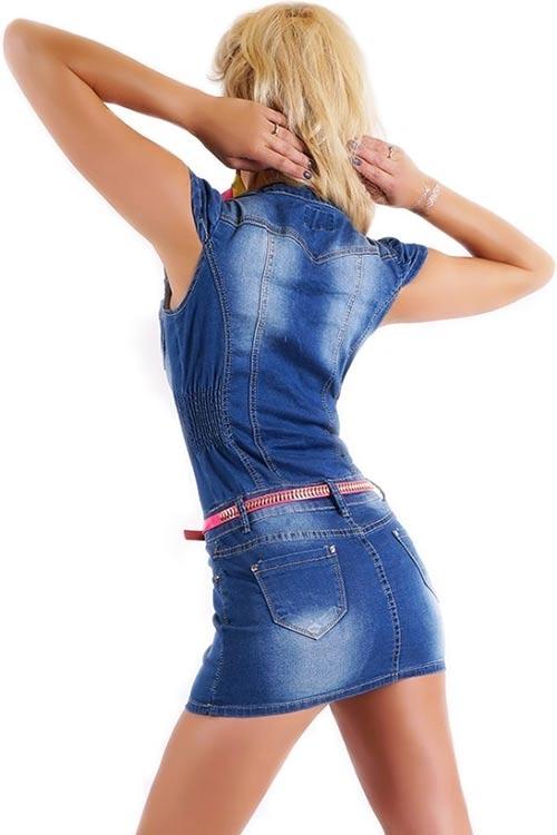 Krátké džínové mini šaty