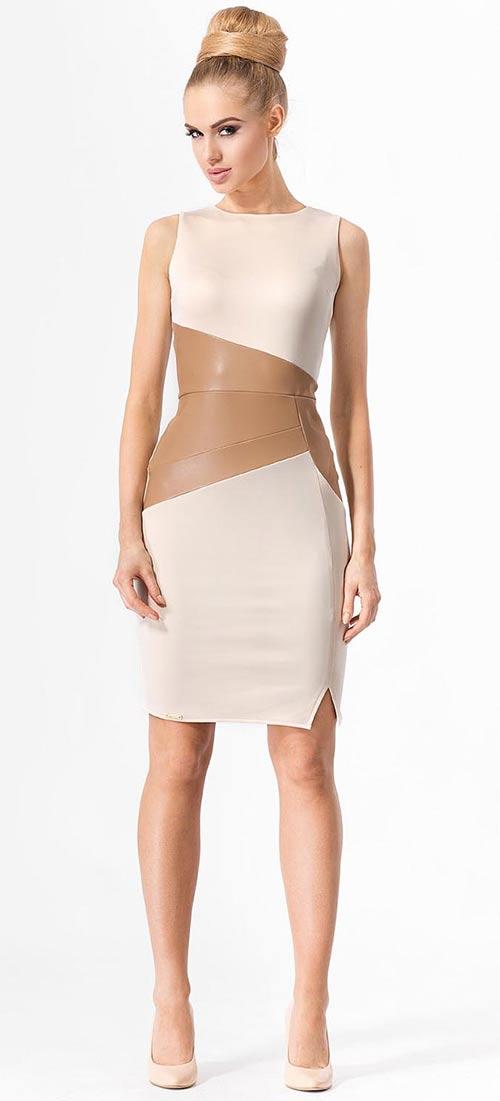 Krémové dámské šaty ke kolenům