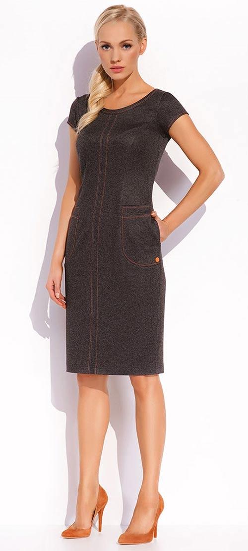 Luxusní dámské pouzdrové šaty s kontrastním prošíváním