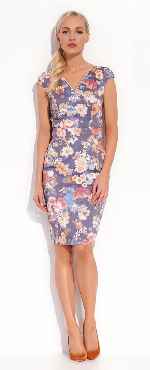Luxusní dámské pouzdrové šaty s nádherným květinovým motivem