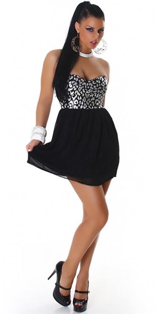Stříbrno-černé společenské šaty