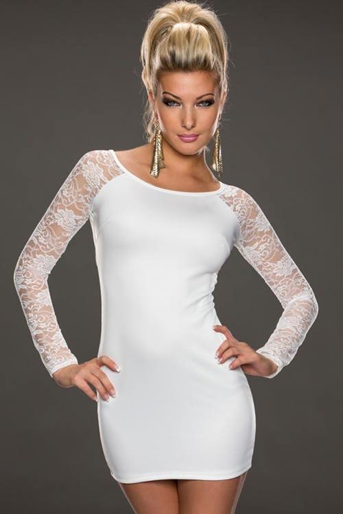 Bílé šaty s květinovou krajkou