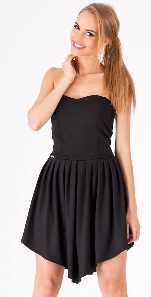 Černé asymetrické letní šaty