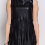 Černé elastické šaty z eko kůže bez rukávu