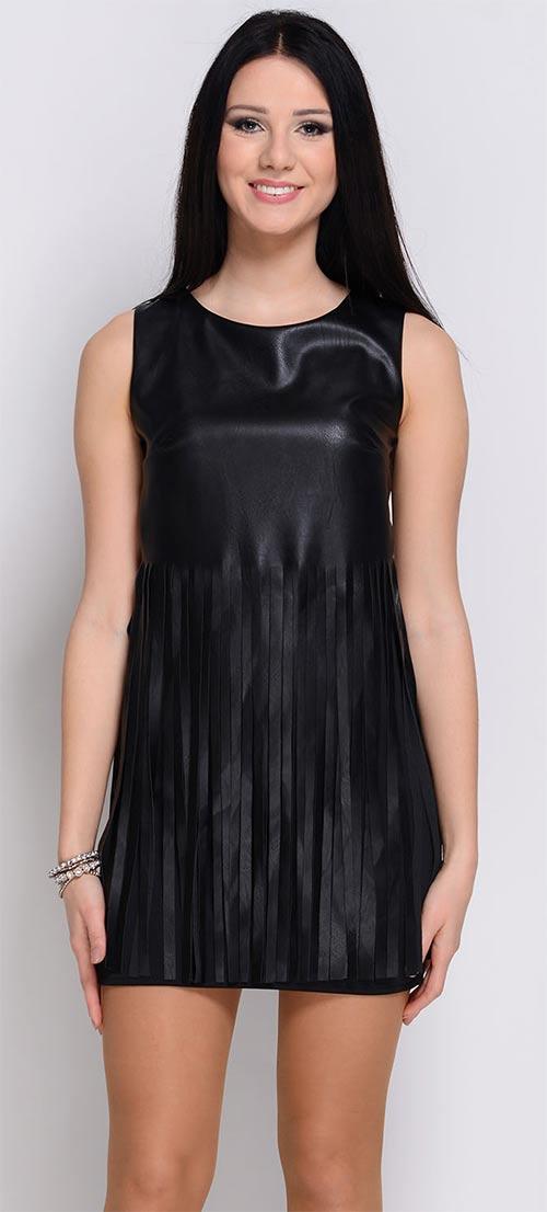 3a644585325d Černé elastické šaty z eko kůže bez rukávu