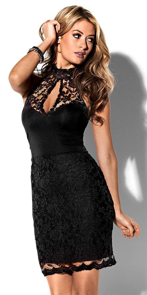 4100c9e66bf Černé krajkové společenské šaty ve velikostech pro plnoštíhlé
