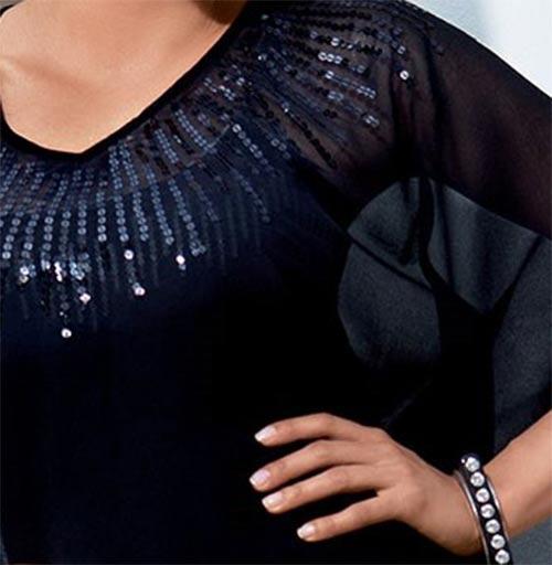 Černé plážové šaty s lesklými flitry