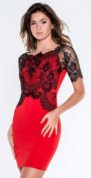 Červeno-černé krátké společenské šaty s krajkou