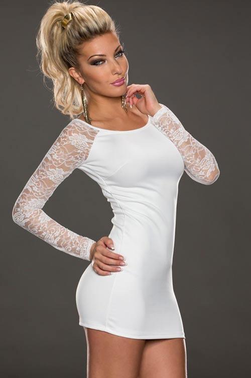 Kraťoučké bílé společenské šaty