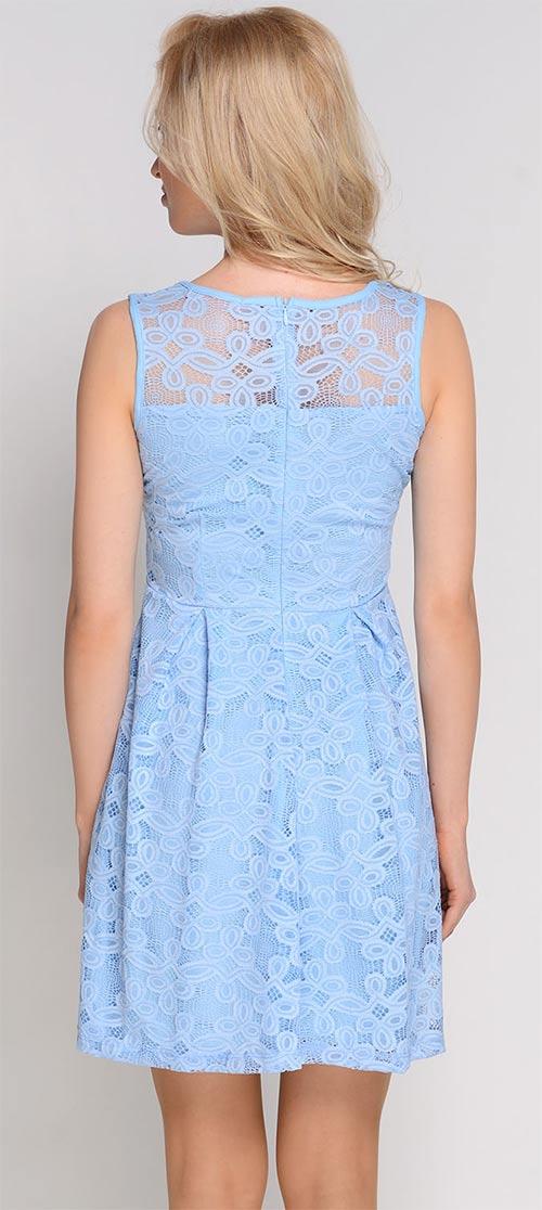 Modré letní krajkové šaty