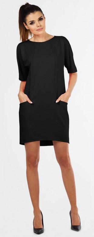 Bavlněné šaty volnějšího střihu s krátkými netopýřími rukávy