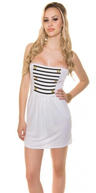 Levné bílé dámské letní mini šaty nad prsa (bez ramínek) 4aeff667cbd