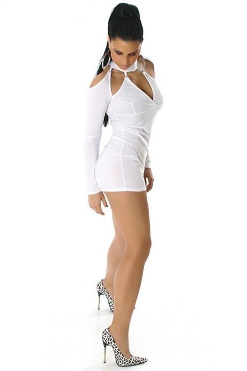 Bílé mini šaty z průhledného materiálu
