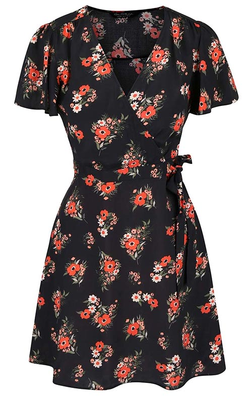 Černé květované letní šaty Miss Selfridge