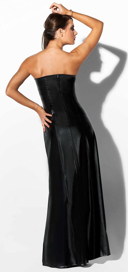 Dlouhé černé společenské šaty bez ramínek z imitace kůže c1ed26b2ff
