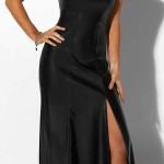 Dlouhé černé společenské šaty bez ramínek z imitace kůže