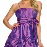Krátké společenské nabírané fialové šaty na ples