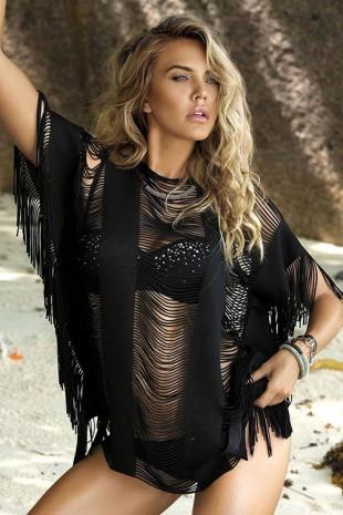 Pletené plážové etno šaty s ažurovými průstřihy