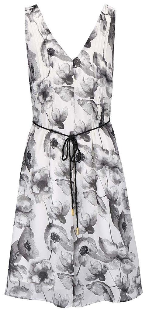 Šedo-krémové květované šaty s páskem
