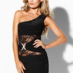 Asymetrické xxxxl šaty s krajkovými vsadkami