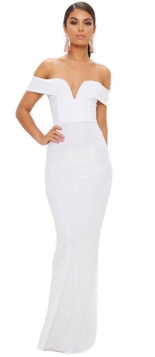 1aeb017e3464 Bílé bardotové maxi šaty s hlubokým výstřihem