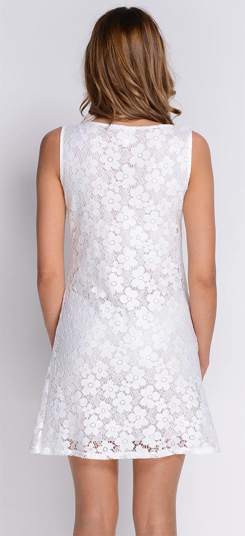 Bílé dámské krajkové šaty
